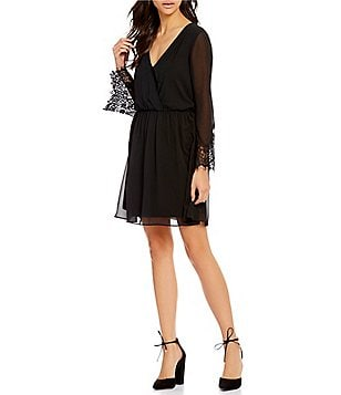 I.N. San Francisco Surplice V-Neckline Lace-Trim Bell Sleeve Dress