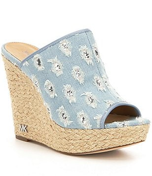 MICHAEL Michael Kors Hastings Denim Glitter Slip-On Peep Toe Wedge Mules