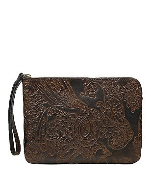 Patricia Nash Burnished Tooled Lace Collection Cassini Wristlet
