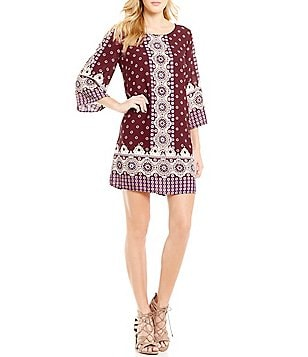 Pink Owl 3/4 Sleeve Placement Print Shift Dress