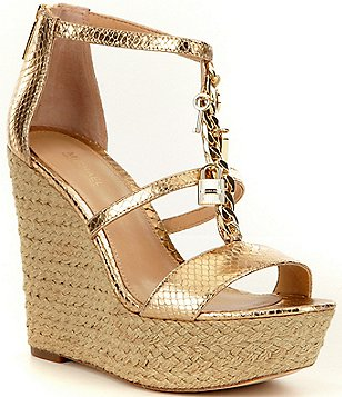 MICHAEL Michael Kors Suki Metallic Leather Charm Platform Wedge Espadrilles