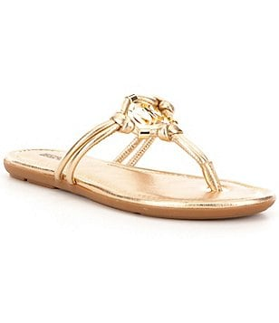 MICHAEL Michael Kors Kinley Metallic Leather Slip-On Thong Sandals