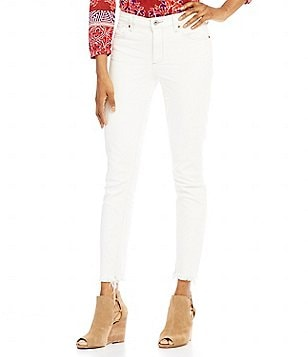 Lucky Brand Bridgette Contrast Thread & Cut Off Frey Hem Skinny Jeans