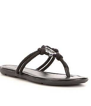 MICHAEL Michael Kors Kinley Rope & Nappa Leather Slip On Sandals