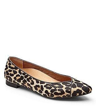 Vionic® Caballo Cheetah-Print Calf Hair Slip-On Pointed Toe Flats