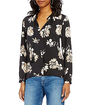 Lucky Brand Floral Print Tassel Tie-Neck Peasant Blouse