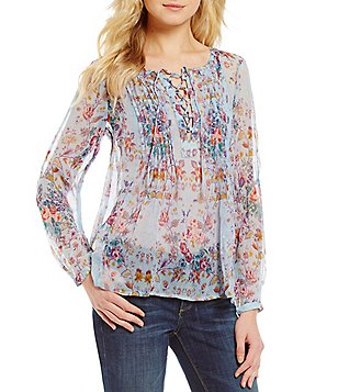 Lucky Brand Floral Print Lace-Up Neck Long Sleeve Sheer Peasant Top