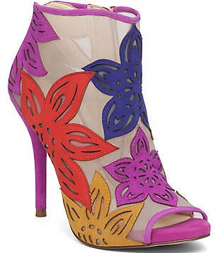 Jessica Simpson Bliths Flower Petal Mesh Peep Toe Ankle Pumps