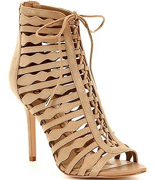 Sam Edelman Amelia Suede Lace-Up Open Toe Booties