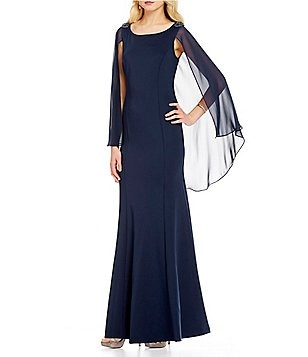 S.L. Fashions Bead-Trim Sleeveless Long Capelet Dress