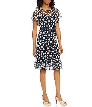 Jessica Howard Belted Chiffon Polka-Dot Dress