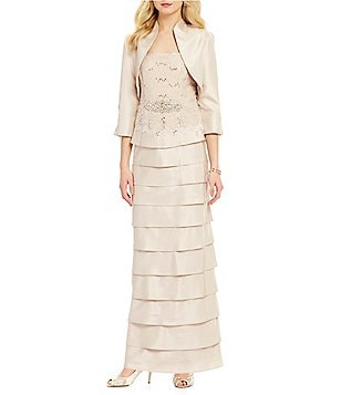 Jessica Howard Lace-Bodice Tiered Jacket Dress