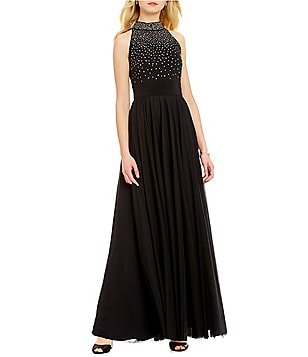 Jessica Howard Mock Neck Sleeveless Beaded Gown