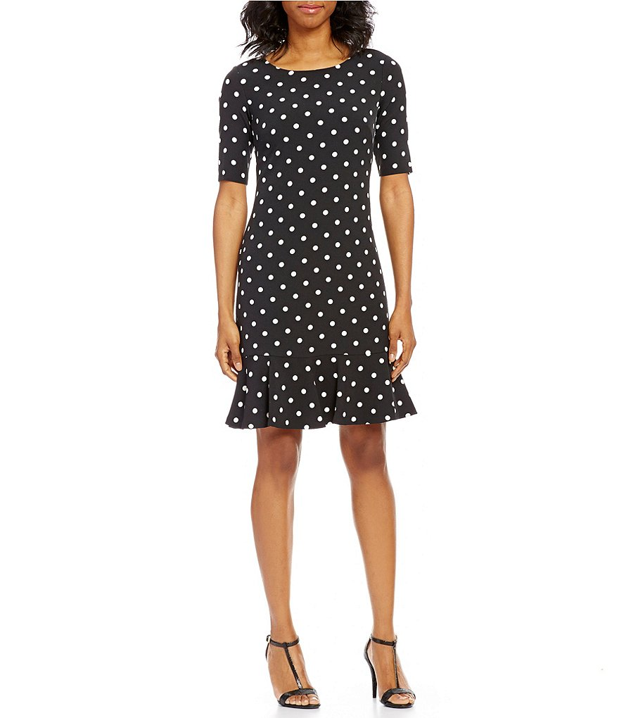Jessica Howard Polka-Dot Flounce-Hem Dress