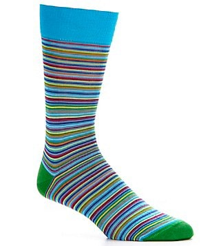 Cremieux Mercerized Thin Stripe Crew Dress Socks