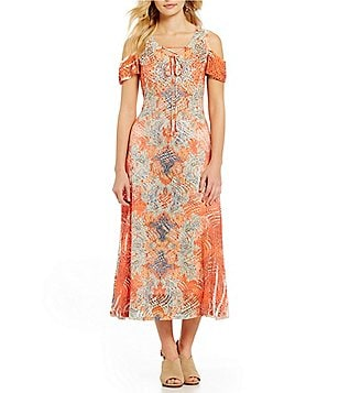 Reba Lace-Up Cold Shoulder Printed A-line Midi Dress