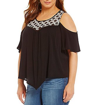 Democracy Plus Scoop Neck Cold-Shoulder Hankey Hem Contrast Yoke Top