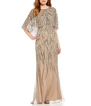 Adrianna Papell 3/4 Sleeve Beaded Popover Gown