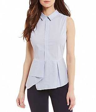 Antonio Melani Keira Point Collar Sleeveless Striped Pleat Peplum Top