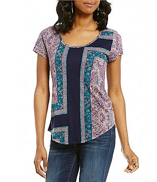 Lucky Brand Scoop Neck Short Sleeve Mixed Print Graphic Tee