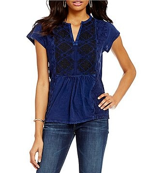 Lucky Brand Solid Embroidered Short Sleeve Knit Tee