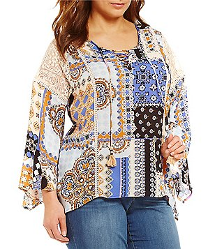 Democracy Plus Lace-Up Bell Sleeve Printed Top