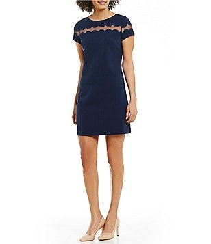 Adrianna Papell Stretch Crepe Scalloped Shift Dress