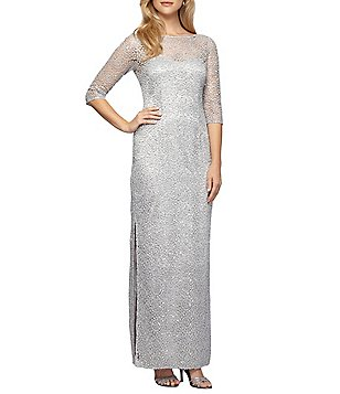 Alex Evenings 3/4-Sleeve Sequined Lace Column Gown
