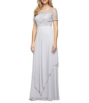 Alex Evenings Round Neck Short Sleeve Sequined Lace Chiffon Gown