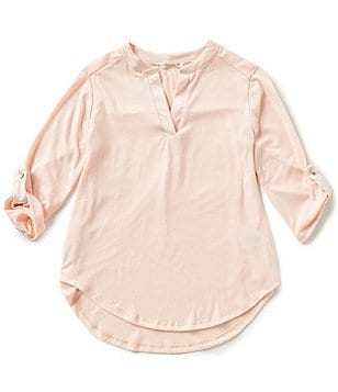 Copper Key Big Girls 7-16 V-Neck Henley High-Low Knit Tunic Top