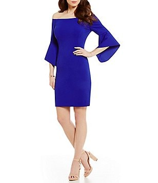 Antonio Melani Darleen Off-The-Shoulder Bell Sleeve Solid Scuba Crepe Dress