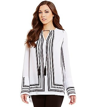 Antonio Melani Fabray Striped Tassel Tie-Neck Blouse