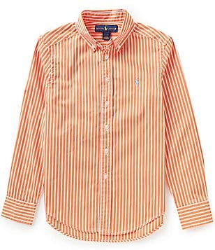 Ralph Lauren Childrenswear Big Boys 8-20 Striped Long-Sleeve Poplin Shirt