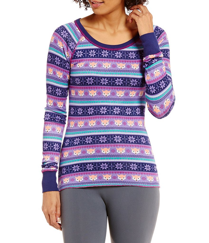 Honeydew Intimates Sleepover Fox Fair Isle Raglan Lounge Top