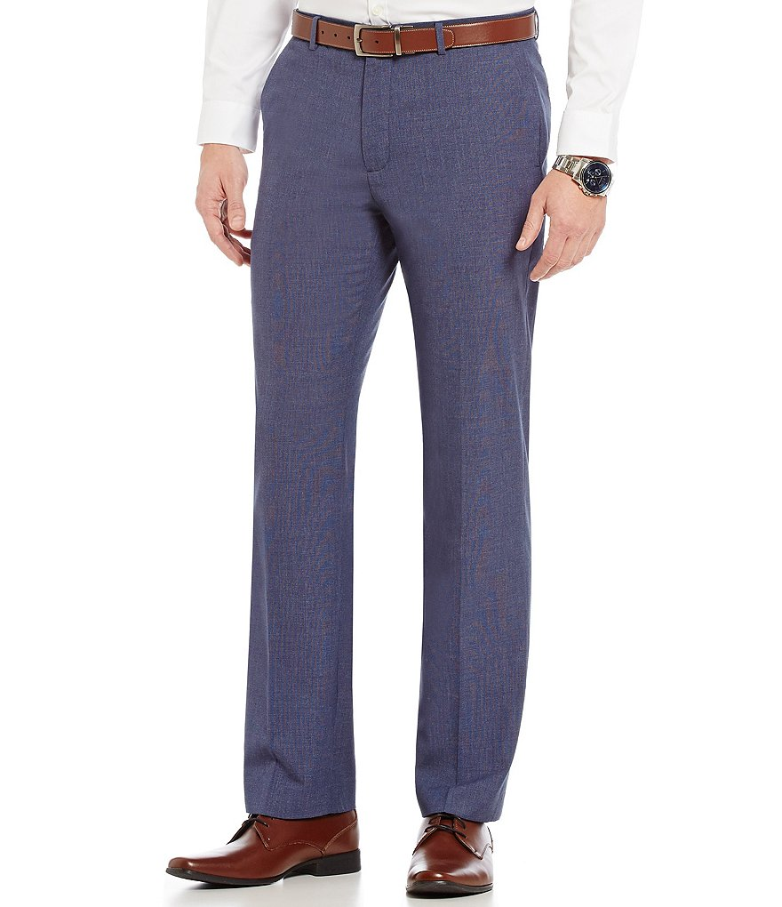 Calvin Klein Straight-Fit Flat-Front Basketweave Textured Pants
