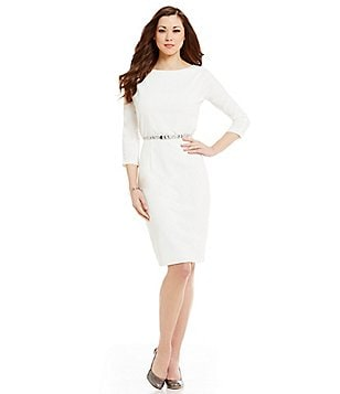 Antonio Melani Cindy Scuba Crepe 3/4 Sleeve Belted Dress