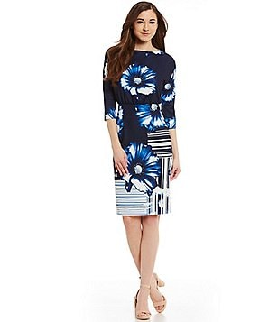 Antonio Melani Cindy Scuba Crepe 3/4 Sleeve Dress