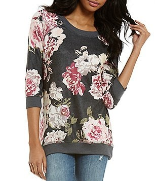 Eyeshadow Floral Printed 3/4 Sleeve Tunic