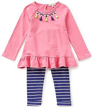 Copper Key Little Girls 4-6X Tunic Tassel Ruffled-Hem Top & Striped Leggings Set