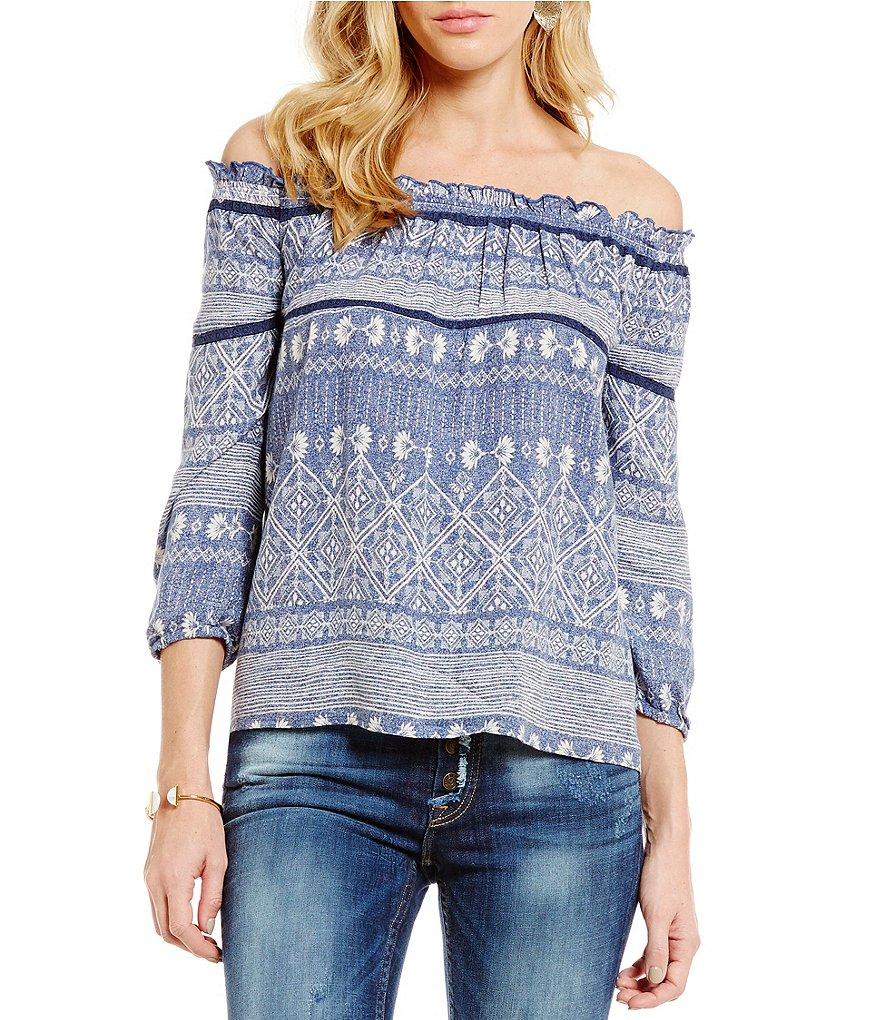 Roxy Beach Fossil Printed Off-The-Shoulder Blouse