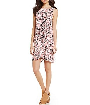 Roxy Swing Ikat Print Woven Capella Tank Dress