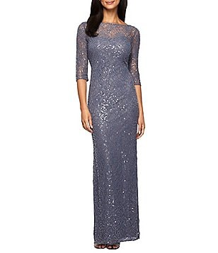 Alex Evenings Boat Neck 3/4 Sleeve Sequined Lace Column Gown