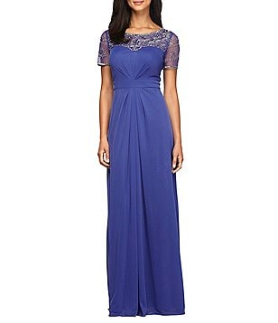 Alex Evenings Beaded Illusion Mesh Short Sleeve Gown