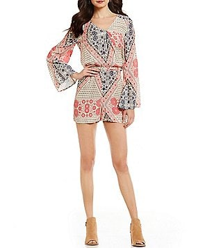Roxy Midnight Clear Kimono Sleeve Printed Romper