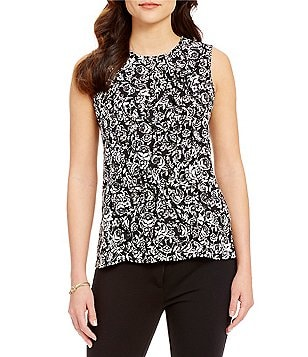 KARL LAGERFELD PARIS Crew Neck Sleeveless Printed Ruffle Front Blouse