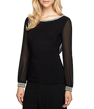 Alex Evenings Long Sleeve Beaded-Cuff Draped-Back Matte Jersey Blouse