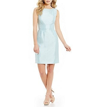 Tahari ASL Round Neck Sleeveless Beaded Shantung Sheath Dress