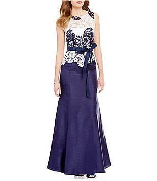 Tahari ASL Sleeveless Two Lace Shantung Mermaid Gown