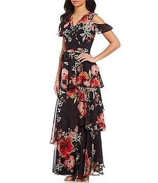 Tahari ASL V-Neck Cold Shoulder Floral Chiffon Gown