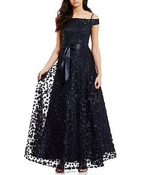 Tahari ASL Off-The-Shoulder 3D Fleurette Ball Gown